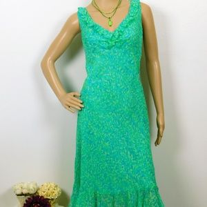Maggy London Silk Sheath Dress 12 Petite Aqua EUC